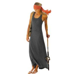 Athleta Koh Tao Gray Maxi Dress ribbed race back